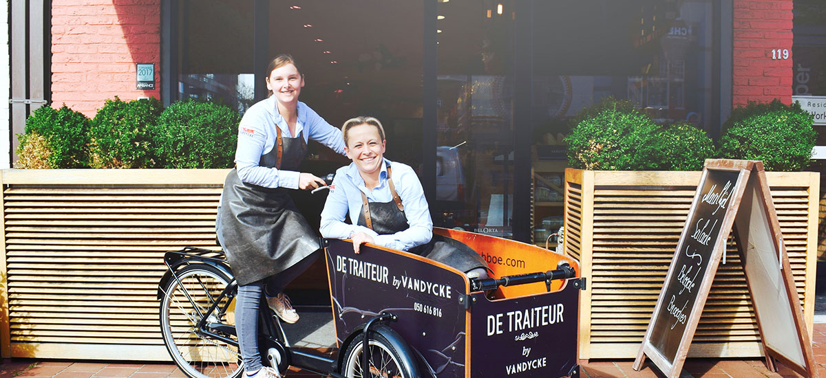Home delivery met de bakfiets door De Traiteur by Vandycke